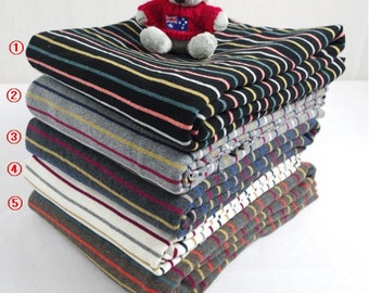 Stripe Pattern Cotton Knit Fabric, Cotton Rib Stretchy Knit Fabric by Yard - 5 Colors Selection