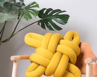 Mustard Knot pillow , Knot Pillows, knot cushions,  Mustard modern pillow, nursery decor, mustard cushion, mustard throw pillow