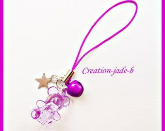 Jewelry for Portable bear purple - phone Strap