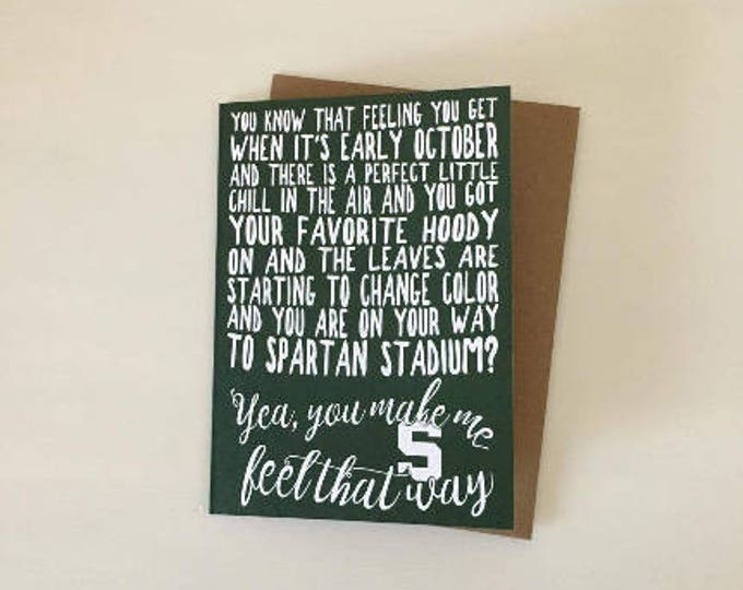 Michigan State University Fall Football Love & Appreciation Card