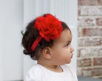 Red Chiffon Lace Headband, Christmas, Photo Prop