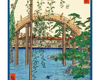 SPRING SALE Digital DOWNLOAD Kameido Tenjin Shrine Grounds by Japanese Artist Hiroshige Counted Cross Stitch Chart / Pattern