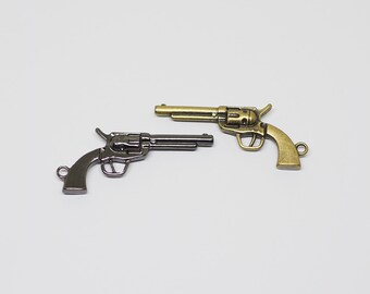 5 pieces - Pistol Charm pendants, Gun Charms, Weapon charm