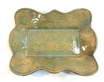 Flower Textured Pottery Plate, Stoneware Pottery Dish, Serving Tray, Snack Tray, Display Plate, Ceramic Dish, Textured Dish