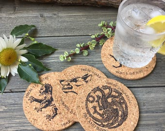 Game of Thrones House Sigils Cork Coaster Set of 4