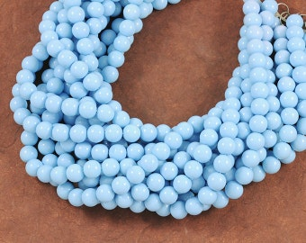 Baby Powder Blue Smooth Glass 10mm Rounds - Full 16 inch Strand