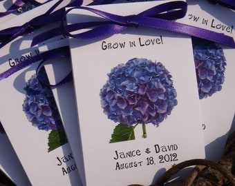 Purple Hydrangea Design on Front~Wildflower seeds Inside. Perfect for Bridal Shower or Wedding SALE CIJ Christmas in July