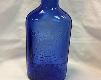 Cobalt Blue Glass, Milk of Magnesia Bottle/Jar, C. 1930s