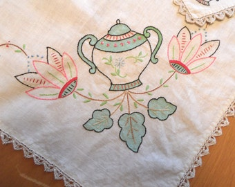 Embroidered floral vase linen tablecloth & napkins /  tea set / card table linen