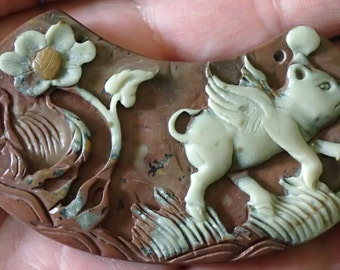 Carved Jasper Flying Pig and Flower Pendant