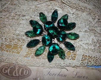 Sparkly Two-Tone Green Rhinestone Brooch