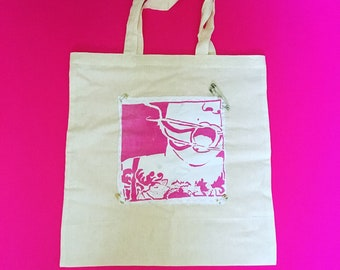 BDSM pink mouth gag screen printed and hand stitches tote bag