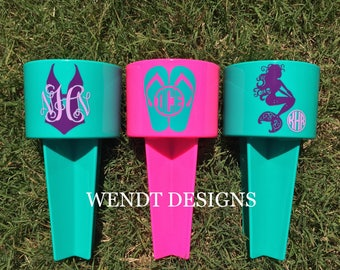 Mermaid and Summertime Designs - Personalized Beach Cup Holder - Beach Spiker - Monogram - Beach Spike - Drink Holder - Sand Spike