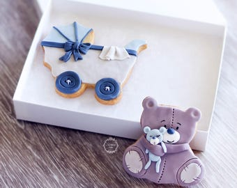 New Baby Decorated Cookies - Baby Boy Gift - Baby Girl - Mum to Be Gift - Baby Shower Biscuits - Teddy and Pram/Stroller Biscuits