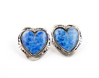 Sterling Silver Heart-Shaped Lapis Lazuli Earrings