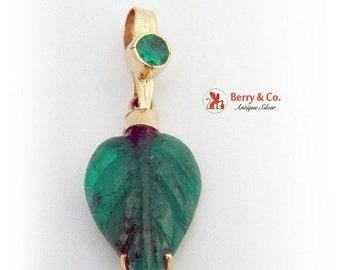 SaLe! sALe! Carved Leaf Emerald Pendant 14 K Gold