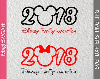 Disney Vacation 2018 Inspired Mickey Mouse Ears  svg, dxf, eps,png, jpg