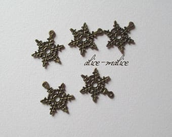 5 bronze snowflake charms snow