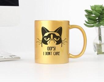 Oops I Dont Care//Grumpy Cat//Coffee//Mug//Hot Pink//Naughty