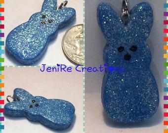 Easter Bunny Peep Polymer Clay Handmade Charm Necklace kawaii / Blue