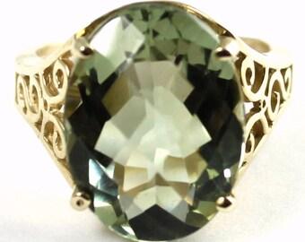 Green Amethyst, 14KY Gold Ring, R049