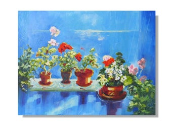 """Original Oil Painting of """"Window with Geraniums"""" with a Seascape View. 16 x 12 inches in a White Frame.  Living Room Art."""