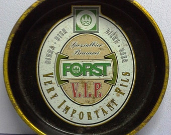 "Vintage Beer/Bar Metal Serving Tray Advertising ""forst"" Beer 1960's"