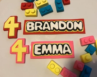 Fondant Cake Topper Set Includes:Personalized name plate, legos, and age