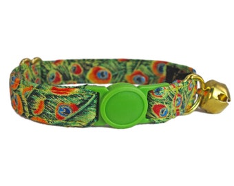 Breakaway Cat Collars - Green Cat Collar - Fancy Cat Collar - Gold Cat Collar -  Custom Cat Collar - Girl Cat Collar - Cat Lover Gift