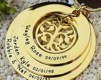 Gold Family Tree, Family Tree Necklace, My Family Tree, Circle of Love, Gold Tree, Generation Necklace, Family Triple Love ONLY 119