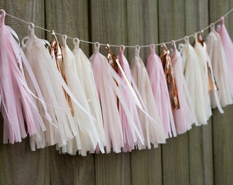 Tissue Tassel Garland in Blush, FREE Shipping, Pink, Ivory, Copper