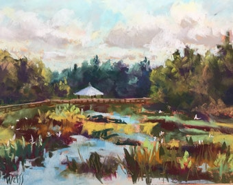 "Original Impressionist Landscape Pastel Painting, Green Cay November 9"" x 12"""