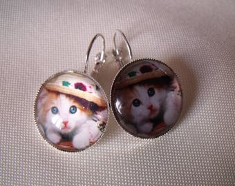 LIQUIDATION earrings cabochon 20mm kitten