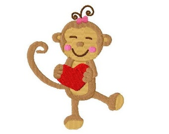 Embroidery Design Monkey with heart 4'x4' - DIGITAL DOWNLOAD PRODUCT
