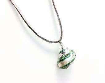 Blue Green Turban Shell Pendant Silver Gray Faux Suede Cord Necklace