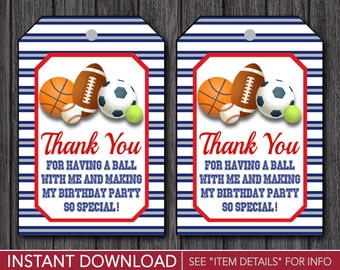 Sports Birthday Favor Tags - Sports Thank You Party Favor Tags - Printable Digital File - INSTANT DOWNLOAD