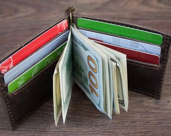Leather Wallet, Mens wallet, Money Clip Wallet, Credit Card Wallet, Groomsmen Gift, Husband Gift, Gifts for Men, Gifts for Him, Mens Gift