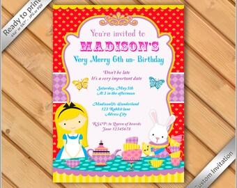 50% OFF SALE - Alice in Wonderland Birthday Invitation Printable - Tea Party invitation printable.
