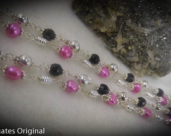 Hot Pink Pearl Black Agate Beaded 20 inch Necklace