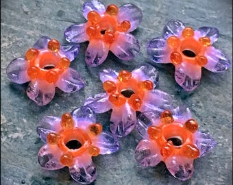 Little Fantasy Boro Lampwork Glass Flower Beads Set - 6 - Flowers - by Hannah Rosner