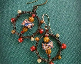Wire wrapped hoop earrings with vintage trade beads and Czech glass, rustic boho earrings