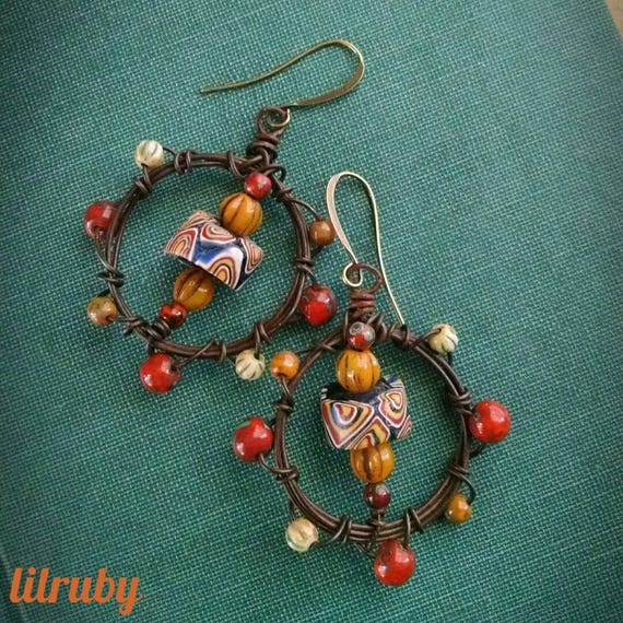 Wire wrapped hoop earrings with vintage trade beads and Czech