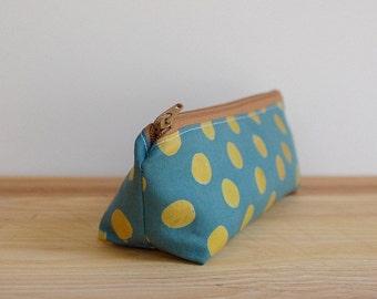 Modern Zipper Pouch, Green Pencil Case, Green Makeup Bag, Back to School Supplies, Modern Pencil Case, Boho Cosmetic Bag, Teal Zipper Pouch