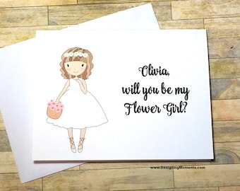 Will You Be My Flower Girl Card - Personalized Flower Girl Wedding Card - Be My Flower Girl - Bridesmaid Card - Flower Girl Thank You DM235