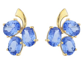 14Kt Yellow Gold Plated Tanzanite Oval Shape Design Stud Earrings