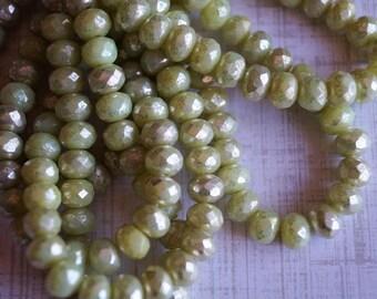 7x5mm Fire Polished Rondelle - Honeydew with Mercury Finish - Light Green - Premium Czech Beads - Bead Soup Beads - Czech Beads