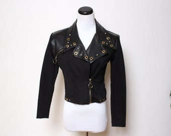 VTG 80s-90s Faux Leather Studded Rocker Crop Motorcycle Jacket XS/S
