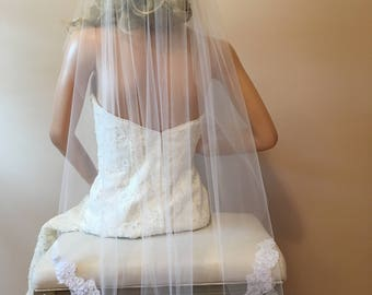 1 Layer Bridal Veil With Bottom Edge Lace