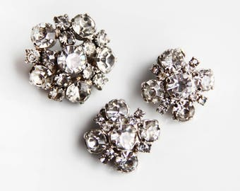 Vintage Crystal Rhinestone Brooch & Earrings ~ Made in Austria ~ Vintage Bridal Jewelry Wedding  Hollywood Glamour gift for Her