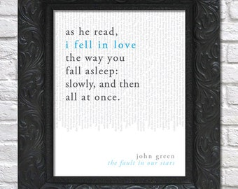 literary art print / book quote // the fault in our stars; john green / unframed